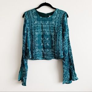 Lovers + Friends Green Paisley Top